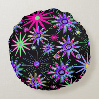 Psychedelic Flowers Round Pillow