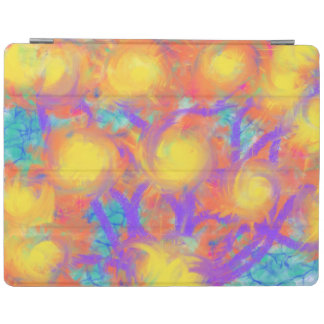 Psychedelic Flowers Yellow Orange Abstract Art iPad Cover