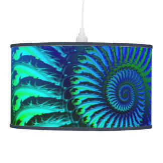 Psychedelic Fractal Blue Pattern Pendant Lamp