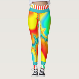 Psychedelic fractal colorful modern leggings