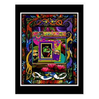 Psychedelic Frog Print With Bonus Monkey Pocket Postcard