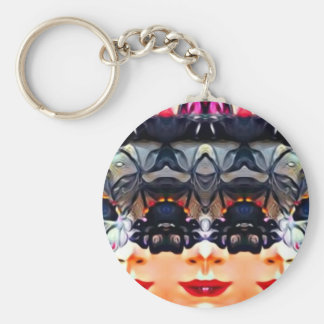 Psychedelic Girl Basic Round Button Keychain