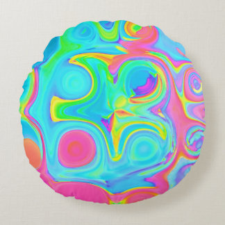 Psychedelic Glass Blocks Round Pillow