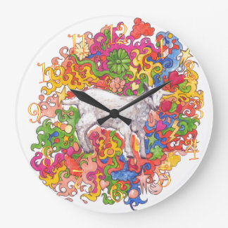 Psychedelic Goat Large Clock