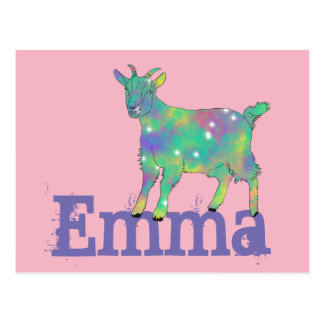 Psychedelic goat on things, change to your name postcard
