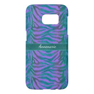 Psychedelic Green n Violet Zebra Animal Print Samsung Galaxy S7 Case