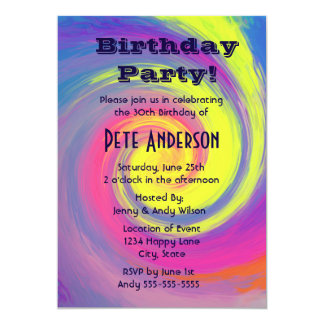 Psychedelic Groovy Swirls Birthday Party Card
