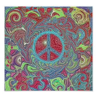 Psychedelic Groovy Trippy Peace Sign Posters