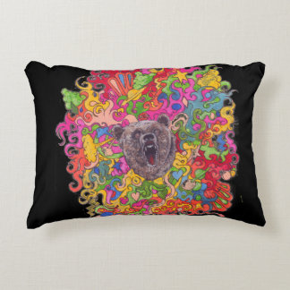 Psychedelic Growling Bear Accent Pillow