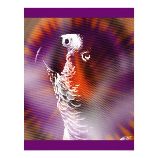 Psychedelic Grunge African Grey Parrot Letterhead