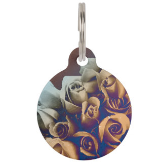 Psychedelic Grunge Roses Pet Tags