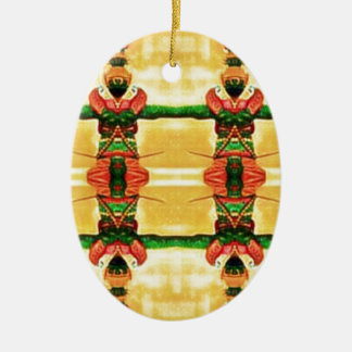Psychedelic Guard Yellow Green Ceramic Ornament