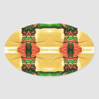 Psychedelic Guard Yellow Green Oval Sticker