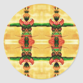 Psychedelic Guard Yellow Green Round Sticker