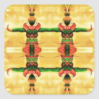 Psychedelic Guard Yellow Green Square Sticker