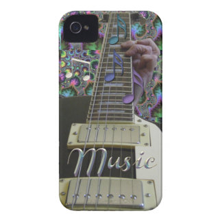 Psychedelic Guitar with Rainbow Notes iPhone Case Case-Mate iPhone 4 Case