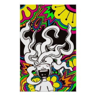 Psychedelic Happy Brain Poster