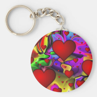 Psychedelic Hearts Keychain
