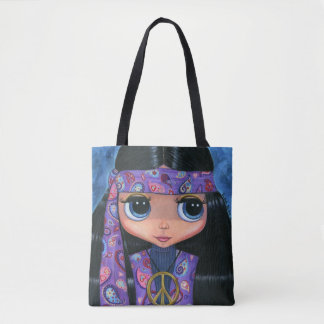 Psychedelic Hippie Chick Purple Paisley 1960s Tote Bag