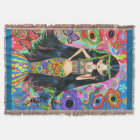 Psychedelic Hippie Girl Mermaid Peace Sign 1960s Throw Blanket