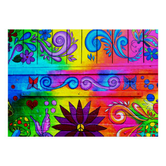 psychedelic hippie mural poster poster