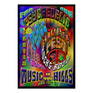 Psychedelic Hippiefest Music Poster