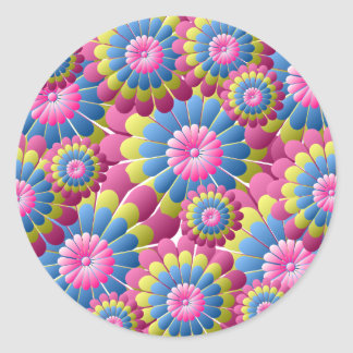 Psychedelic Hippy Flower Power Classic Round Sticker