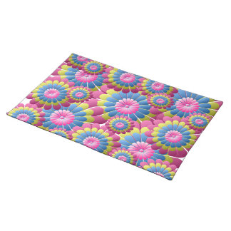Psychedelic Hippy Flower Power Place Mats
