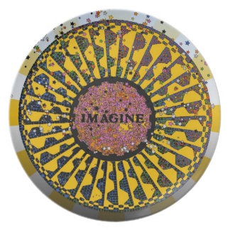 Psychedelic Imagine Mosaic, Strawberry Fields B3 Dinner Plate