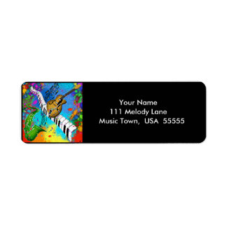 Psychedelic Jazz Music Label Return Address Label