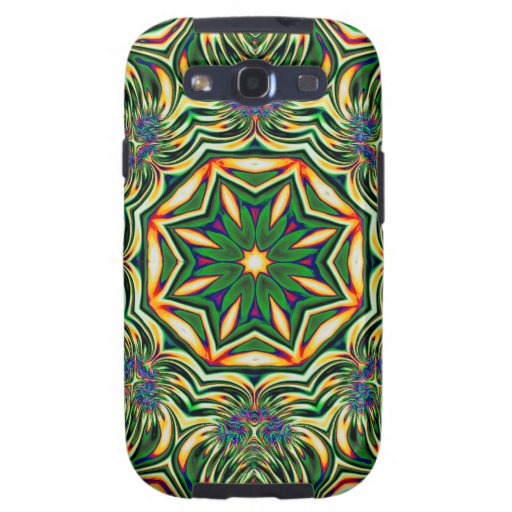 Psychedelic Kaleidoscope 1 green abstract pattern Galaxy SIII Cases