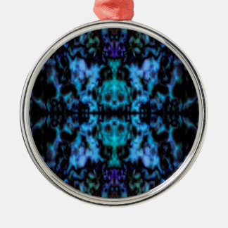 Psychedelic kaleidoscope pattern Silver-Colored round ornament