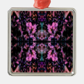 Psychedelic kaleidoscope pattern Silver-Colored square ornament