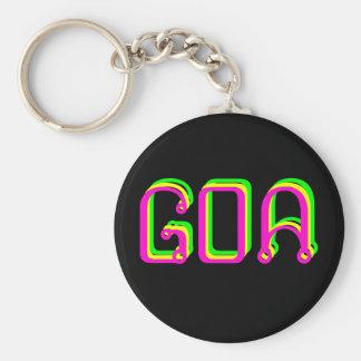 Psychedelic key-ring goa basic round button keychain