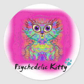 Psychedelic Kitty Round Sticker