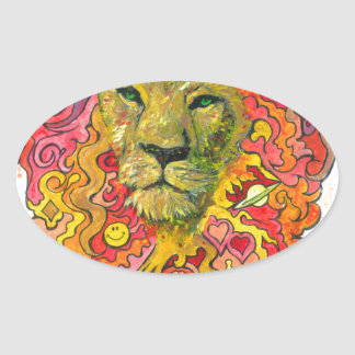 Psychedelic Lion Oval Sticker