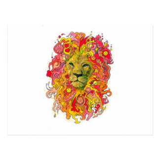 Psychedelic Lion Postcard