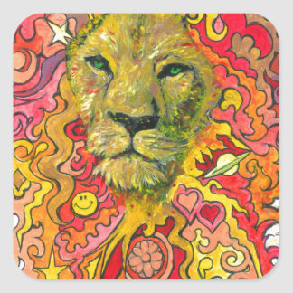 Psychedelic Lion Square Sticker