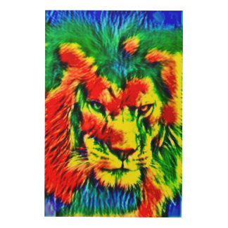 Psychedelic Lion Wildlife Art Wood Prints