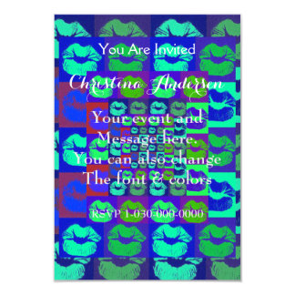 """Psychedelic Lips 3.5"""" X 5"""" Invitation Card"""