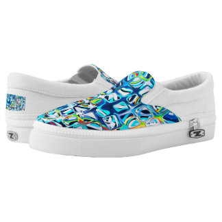 psychedelic little colorful blue cubes #2 Slip-On sneakers