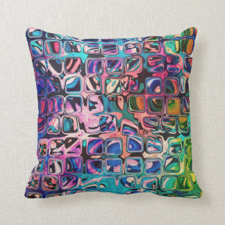 Psychedelic little colorful cubes throw pillow