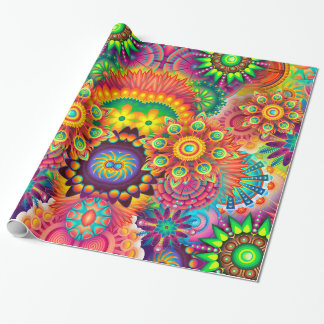 Psychedelic mandala rainbow flower wrapping paper! wrapping paper