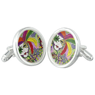 Psychedelic Mardi Gras Feather Mask Cufflinks