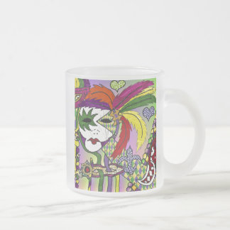 Psychedelic Mardi Gras Feather Mask Frosted Glass Coffee Mug