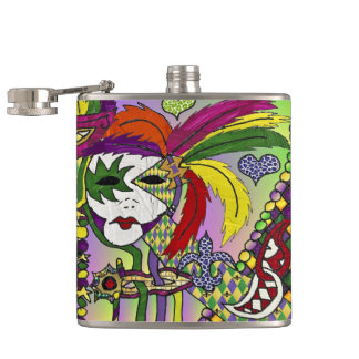 Psychedelic Mardi Gras Feather Mask Hip Flask