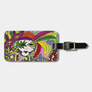Psychedelic Mardi Gras Feather Mask Luggage Tag