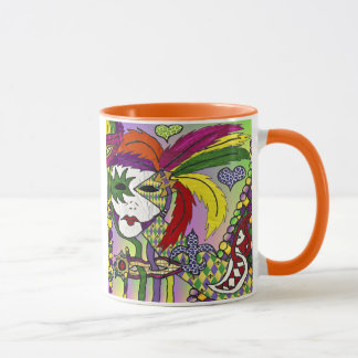 Psychedelic Mardi Gras Feather Mask Mug