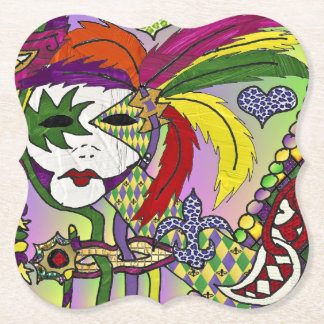 Psychedelic Mardi Gras Feather Mask Paper Coaster