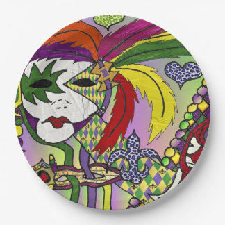Psychedelic Mardi Gras Feather Mask Paper Plate